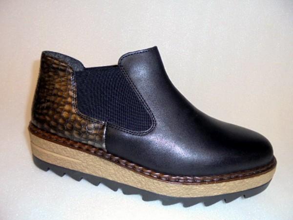 55890 Rieker Damenschuhe Boots Chelsea-Kurzstiefelette schwarz Leder