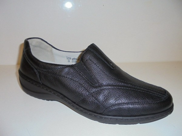 Waldläufer Damen Schuhe Slipper Leder 607504 schwarz
