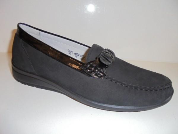 331504 Waldläufer Damenschuhe Slipper Mokassin Leder schwarz