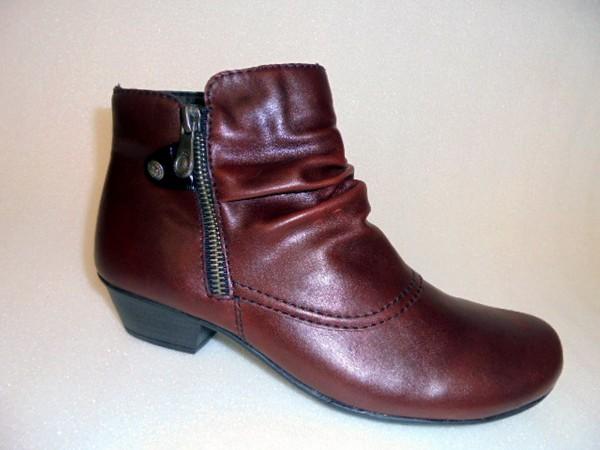 Y7363 Damenschuhe Boots Stiefeletten bordo Kunstleder