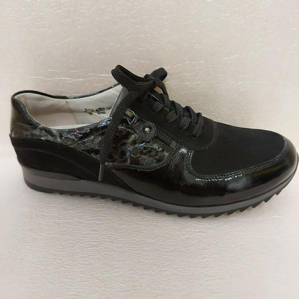 Waldläufer Damen Schuhe Schnürschuhe Leder 370013 schwarz