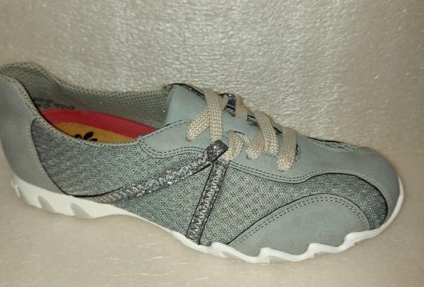 Rieker Damen Schuhe Schnürschuhe grau