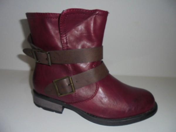 97284 Rieker Damenschuhe Boots Stiefelette rot-kombi Warmfutter