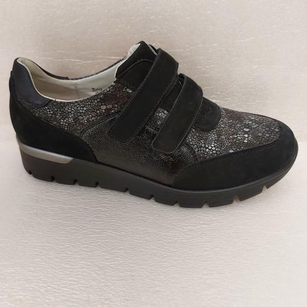 Waldläufer Damen Schuhe Klettschuhe Leder 626301 schwarz