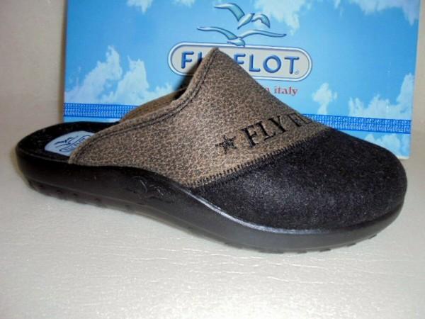 FLY FLOT Pantoffel Hausschuhe Filz braun-schwarz Herren 882054