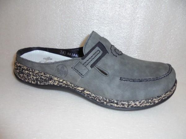 Rieker Damen Schuhe Sabot Clogs 46393 grau