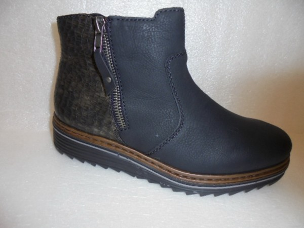 Rieker Damen Boots Kurzstiefeletten schwarz Kunstleder Y6388