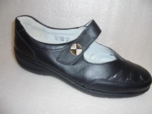 607309 Waldläufer Damen Schuhe Ballerina Klett Leder schwarz