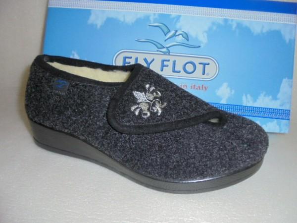 FlyFlot Damen Hausschuhe grau Lammwollfutter 863045 Klettverschluss