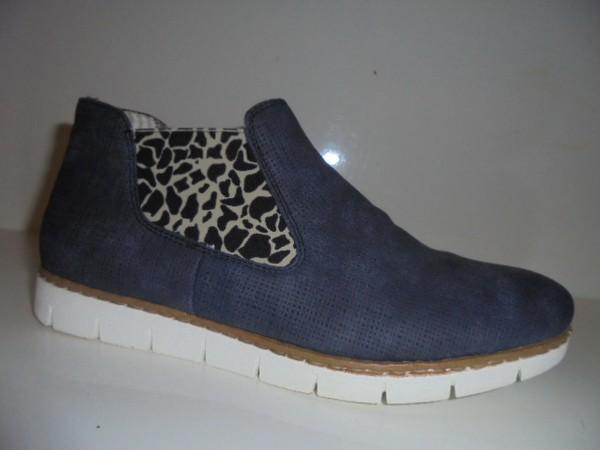 M1390 Rieker Damenschuhe Sommer-Stiefelette Chelsea-Boots blau