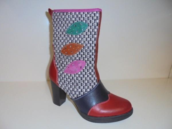 254187 street Damenschuhe Stiefel Boots rot multi