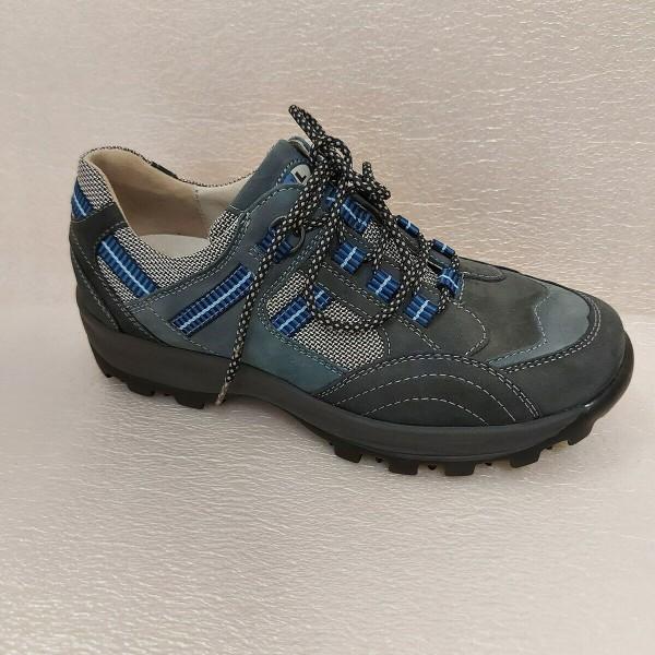 471008 Waldläufer Damen Schnürschuhe Walking Leder und Mesh blau