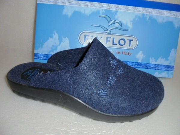 LY FLOT Damen Hausschuhe Pantoffel Filz 863495 blau