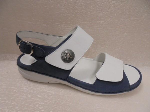 Waldläufer Damen Sandale Leder 204001 blau-weiss