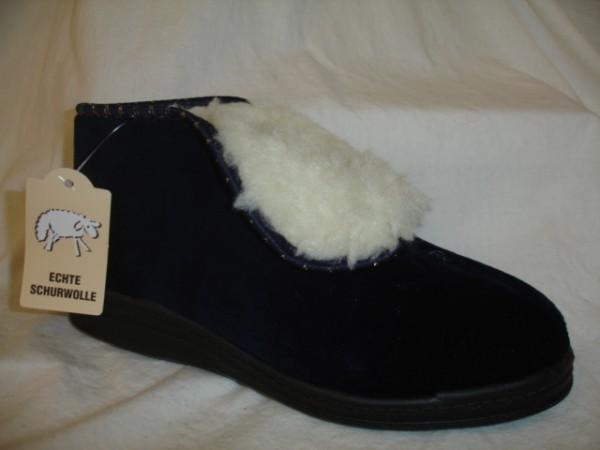33101 COMFORT Damenschuhe Hausschuhe Samt Warmfutter blau