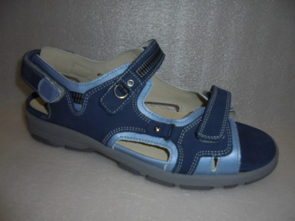 Waldläufer Damenschuhe Sandale Leder 361004 Trecking blau