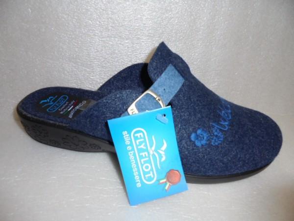 FLY FLOT Damen Schuhe Schlupfschuhe Pantoffel Hausschuhe 863686 blau