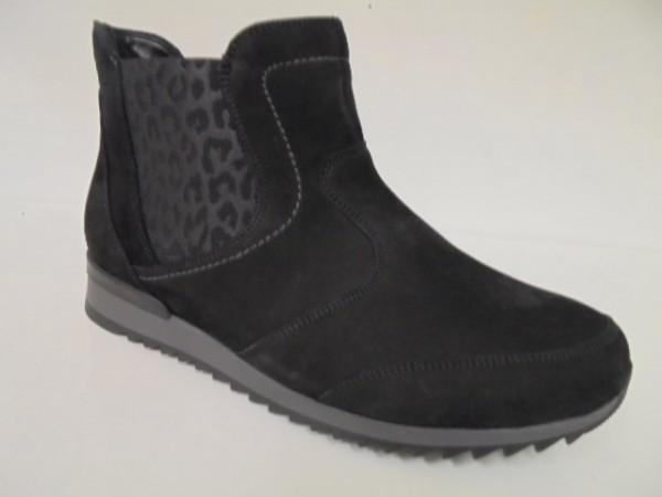 370803 Waldläufer Damenstiefelette Boots Nubukleder schwarz
