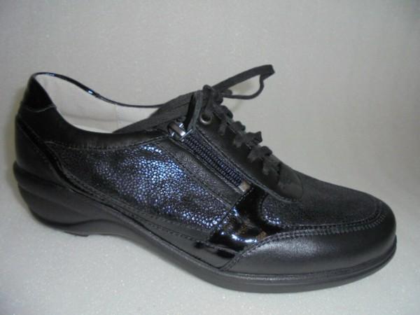 305006 Waldläufer Damen Schnürer Schuhe Leder schwarz
