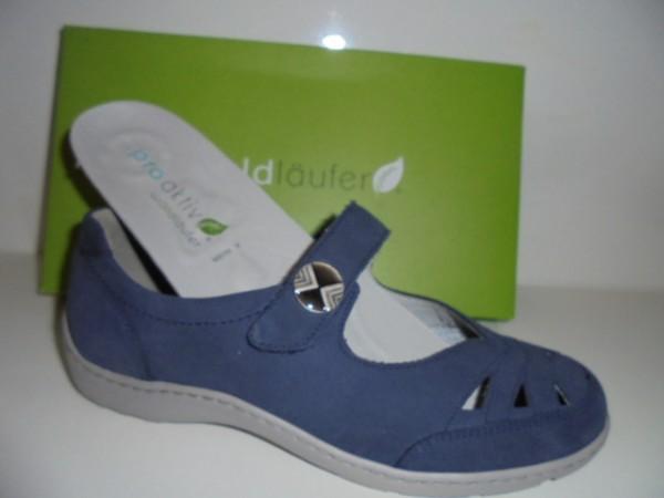 496309 Waldläufer Damenschuhe Ballerina Klett Leder jeansblau