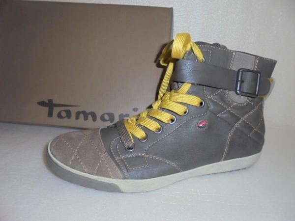 25238 Tamaris Damen Boots Leder und Kunstleder Reißverschluß braun