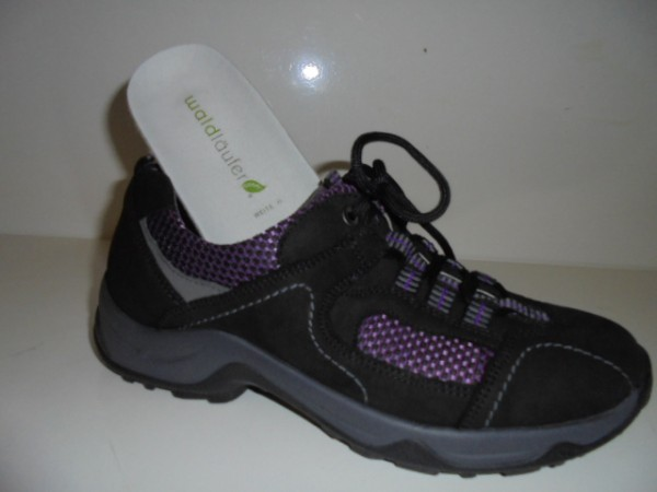 944003 Waldläufer Damenschuhe Schnürschuhe Walking Leder schwarz-kombi