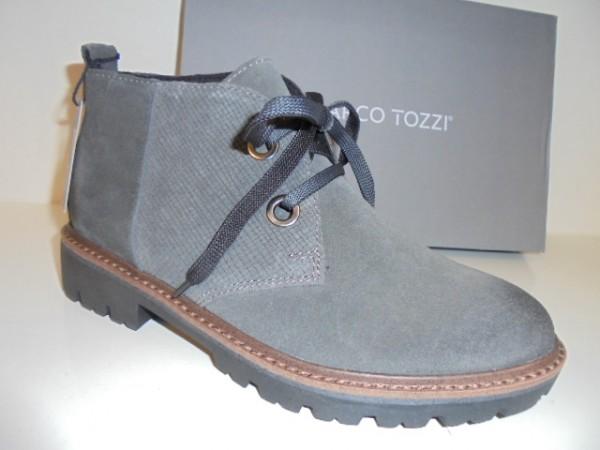 25222 Marco Tozzi Damenschuhe Schnürboots Leder grau antik