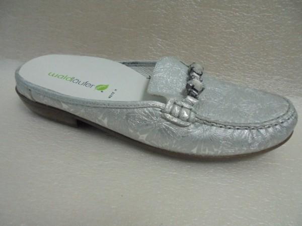 Waldläufer Damen Sabot silber für Einlagen Weite H 437605 Leder