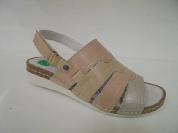 20115 Reflexan Damenschuhe Sandale beige-rose Leder