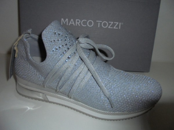 23738 Marco Tozzi Damenschuhe Schnürer Textil-Stretch silbergrau