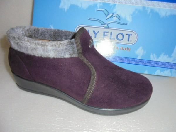 FLY FLOT Damen Hausschuhe Velourett 863407 aubergine