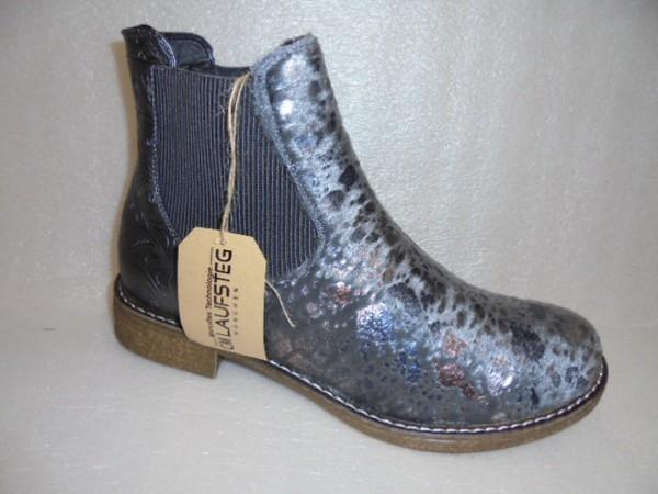 Laufsteg Damen Schuhe Stiefelette Chelsea 171401 grau kombi