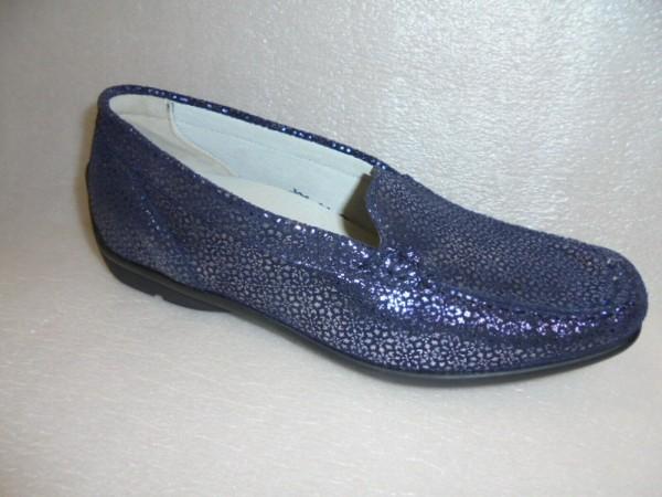 Waldläufer Damen Schuhe Slipper Mokassin Leder 431000 blau