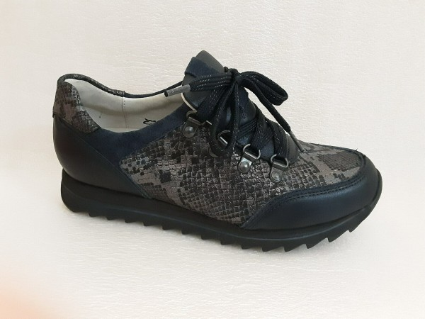Waldläufer Damen Schuhe Schnürer Walking Leder 923015 blau