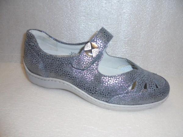 Waldläufer Damen Ballerina Klett Leder 496309 cement
