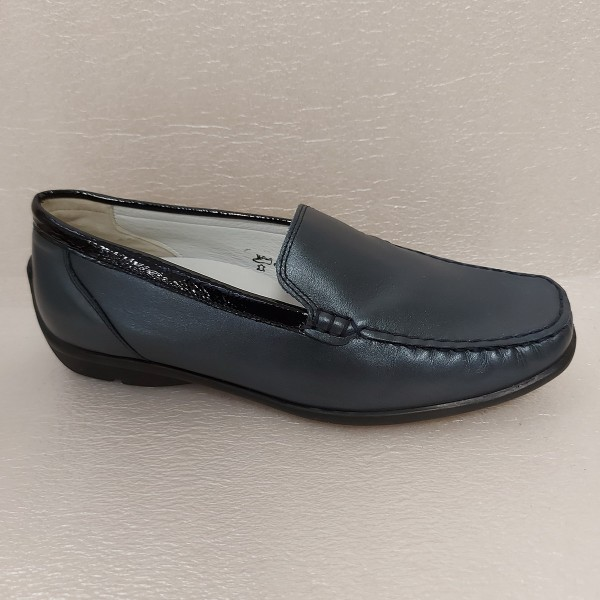 Waldläufer Damen Schuhe Slipper Mokassin Leder blau 431000