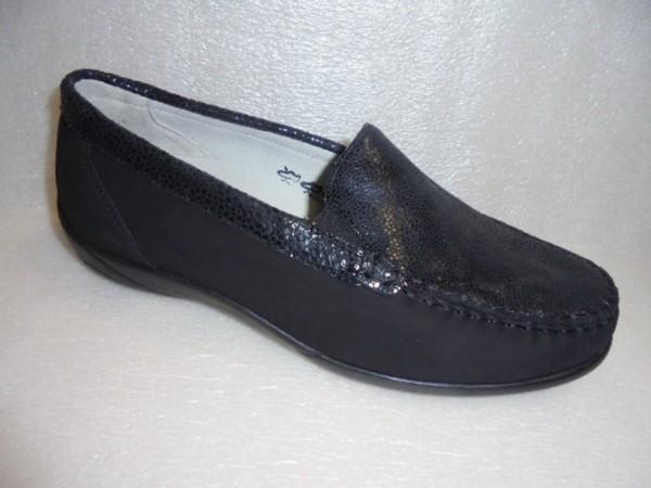 Waldläufer Damen Schuhe Mokassin Echtleder 640004 schwarz