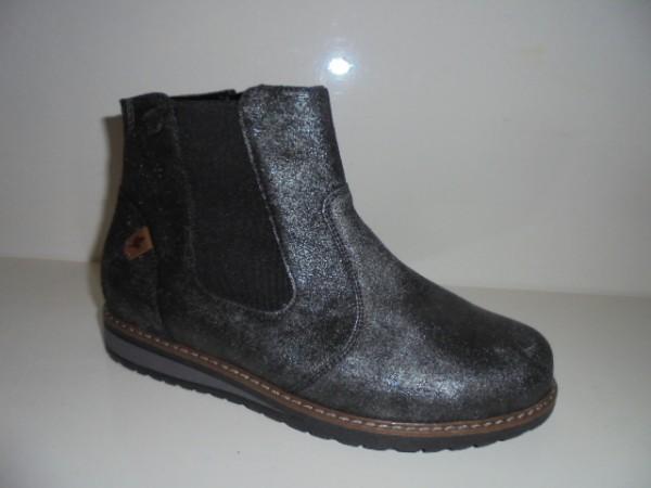 Waldläufer Damenstiefelette Boots Warmfutter Leder schwarz 379801