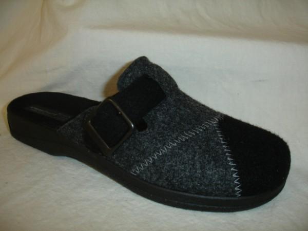 13200 COMFORT Herrenschuhe Hausschuhe Pantoffel Wolle schwarz-grau