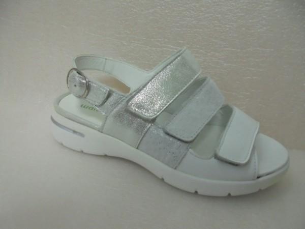Waldläufer Damen Sandale Leder weiss-silber 673003