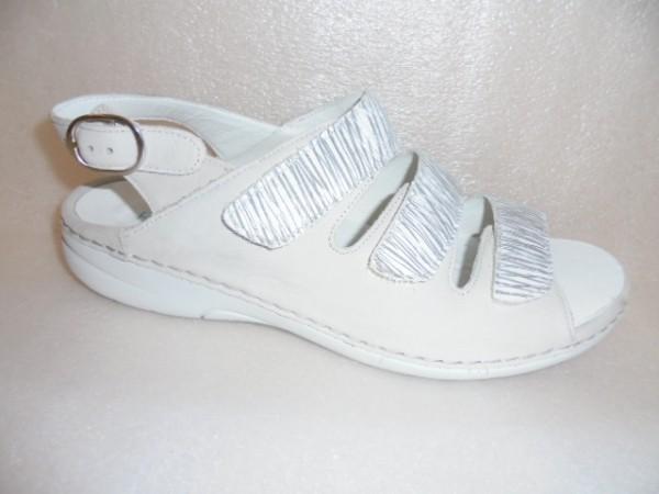 Waldläufer Damen Schuhe Sandale Leder 204003 cement weiß