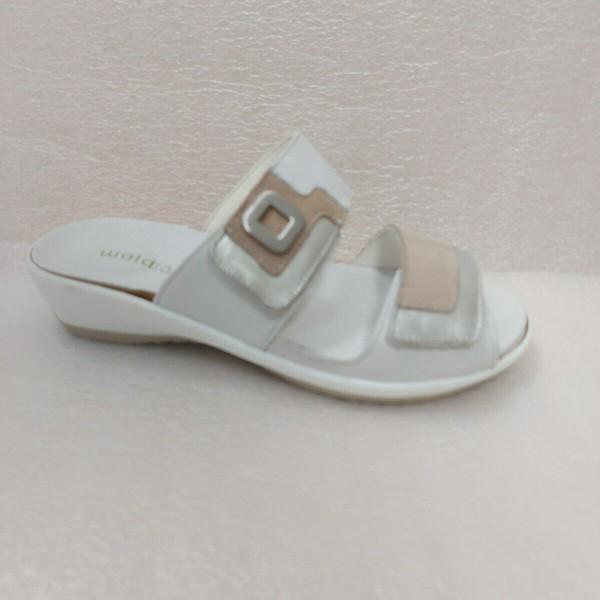 Waldläufer Damenschuhe Pantolette Sandale Leder silber-kies 225501