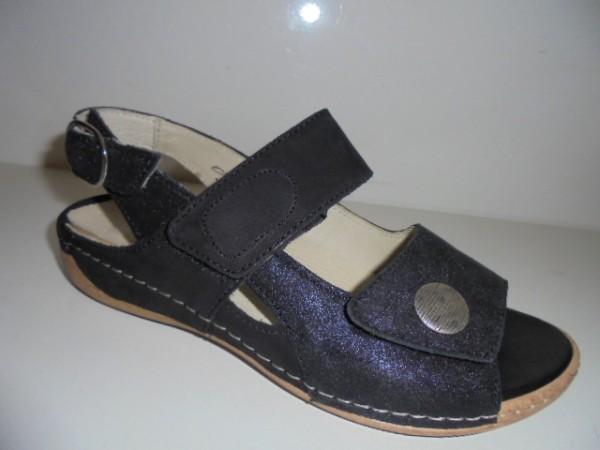 342002 Waldläufer Damenschuhe Sandale Leder lose Einlagen schwarz Glitter