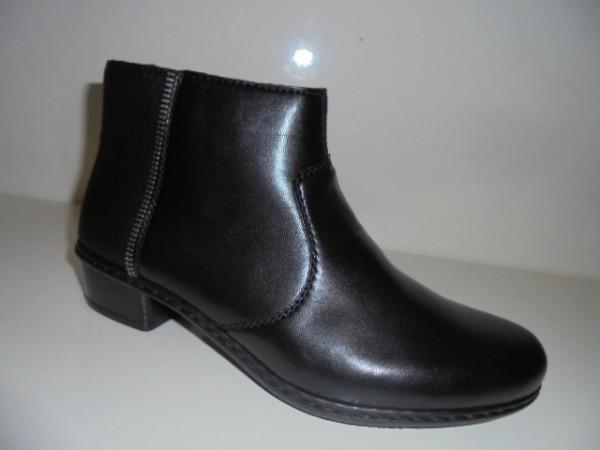 Y0768 RIEKER Damenschuhe Stiefelette schwarz