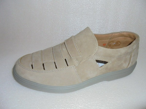 4158 JOMOS Herren Slipper Flats Leder beige Schlupfschuhe