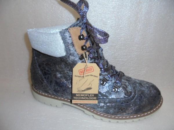 Laufsteg Damen Schuhe Stiefelette Schnürboots 172510 grau