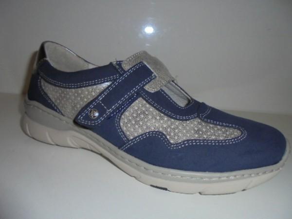 40600 Reflexan Damenschuhe Slipper Ballerina Klettverschluß blau kombi
