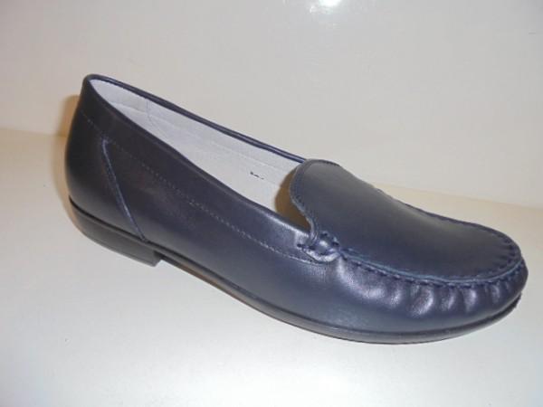 437502 Waldläufer Damenschuhe Mokassin Echtleder blau