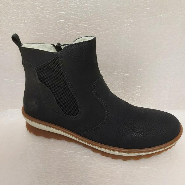 RIEKER Damen Schuhe Stiefelette Boots schwarz Z8694 Wechselsohle
