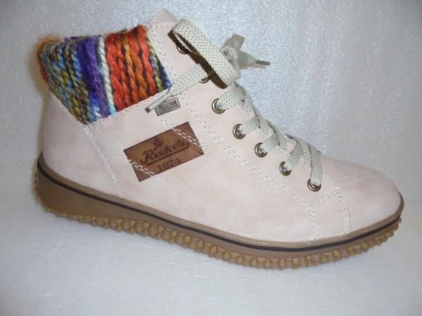 Rieker Damen Schuhe Stiefelette Boots braun Warmfutter Z4230 rose